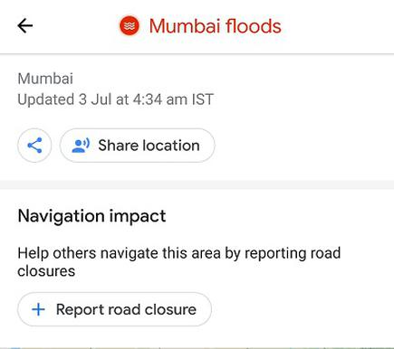 Mumbai floods: How to report road closure using Google Maps ... on nasa flood map, google listing, live flood map, geographic information system flood map, world flood map, search flood map, google scholar, google property search, al gore flood map,
