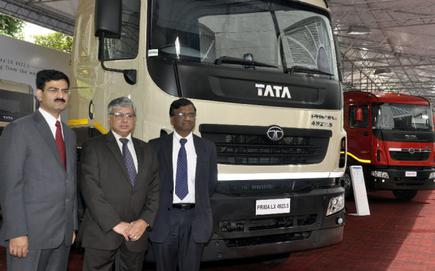 At the launch: (From left) Vinod Sahay, Head-Sales and Marketing-Medium and Heavy Commercial Vehicles, Tata Motors Ltd, Ravi Pisharody, Executive Director, ...