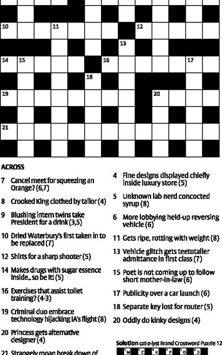 Cat A Lyst Brand Crossword Puzzle 13 The Hindu Businessline