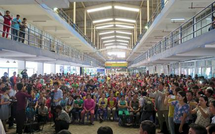 bb84179bad8 Workers of Pou Yuen Vietnam gather for a negotiation with labour union  officials at their factory on the fifth day of their strike in Vietnam s  southern Ho ...
